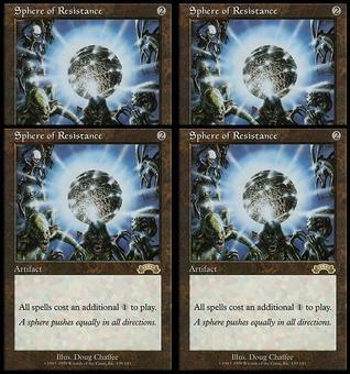 Magic the Gathering Exodus PLAYSET Sphere of Resistance - NEAR MINT (NM)