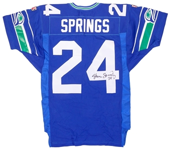 Shawn Springs Autographed Seattle Seahawks Blue Proline Wilson Jersey (Press Pass)