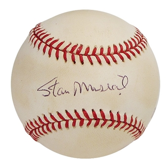 Stan Musial Autographed Official Major League Baseball (GAI COA)