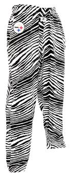 Pittsburgh Steelers Zubaz Black and White Zebra Print Pants