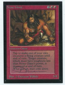 Magic the Gathering Beta Artist Proof Stone Giant - SIGNED BY DAMEON WILLICH