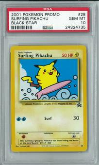 Pokemon Black Star Promo Surfing Pikachu 28 PSA 10