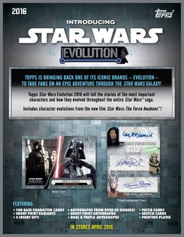 Star Wars: Evolution Hobby 12-Box Case (Topps 2016) (Presell)