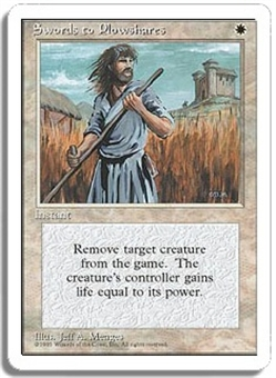 Magic the Gathering 4th Edition Single Swords to Plowshares - SLIGHT PLAY (SP)