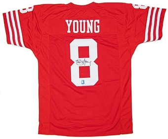 Steve Young Autographed San Francisco 49ers Red Throwback Football Jersey (JSA COA)