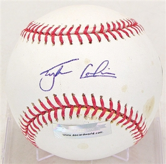 Tyler Colvin Autographed Baseball (Stained) (DACW COA)