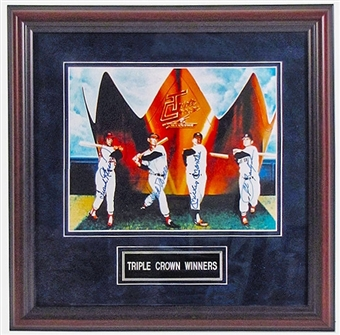 Triple Crown Winners Autographed & Framed 8x10 Photo (JSA COA)