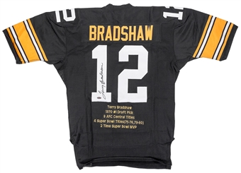 Terry Bradshaw Autographed Pittsburgh Steelers Mitchell & Ness Stat Jersey (Steiner)