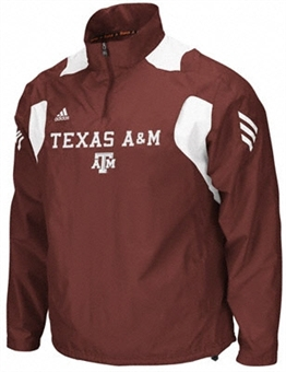 Texas A&M Aggies Adidas Maroon Coaches Sideline Scorch 1/4 Zip Jacket (Size X-Large)