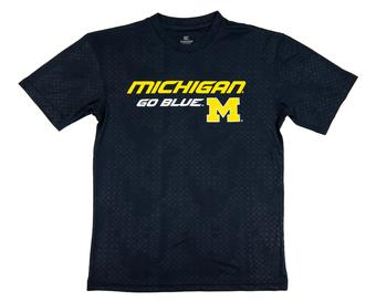 Michigan Wolverines Colosseum Navy Gridlock Performance Short Sleeve Tee Shirt (Adult S)