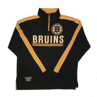 Boston Bruins Old Time Hockey Conor Black 1/4 Zip Crewneck Fleece (Adult XXL)