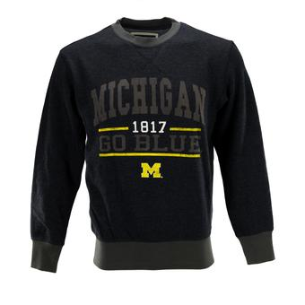 Michigan Wolverines Colosseum Navy Gust Fleece Crew Neck Sweatshirt (Adult L)