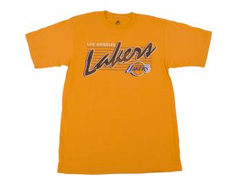 Los Angeles Lakers Adidas Gold Vintage Script Tee Shirt (Adult M)