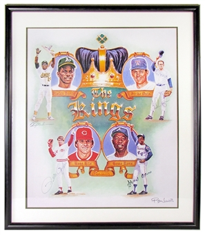 The Kings Henderson/Ryan/Rose/Aaron Autographed 36X31 Framed Ron Lewis Piece (JSA)