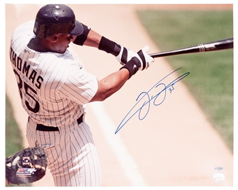 Frank Thomas Autographed Chicago White Sox Batting 16x20 Photo (Leaf)