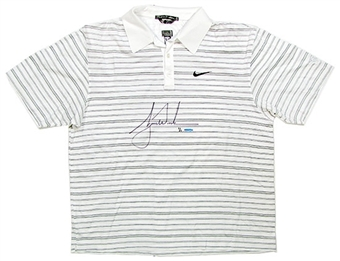 Tiger Woods Tournament Worn & Autographed Nike Polo #1/1 (UDA COA)