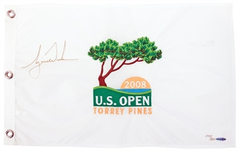 Tiger Woods Autographed 2008 US Open Pin Flag (UDA)