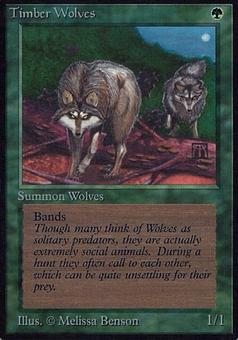 Magic the Gathering Alpha Single Timber Wolves SIGNED BY MELISSA BENSON - MODERATE PLAY (MP)