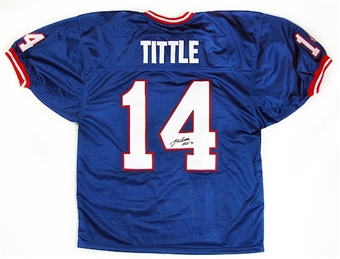 Y.A. Tittle Autographed New York Giants Blue Football Jersey (JSA COA)