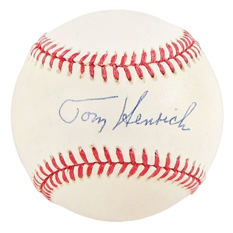 Tom Henrich Autographed Official American League Baseball (JSA PSA COA)