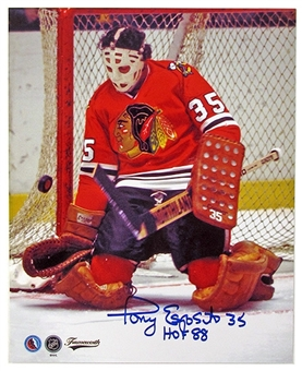 Tony Esposito Autographed Chicago Blackhawks 8x10 Photo Icebox COA