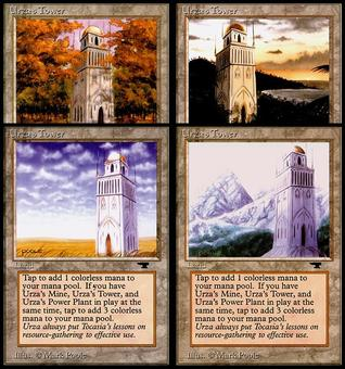 Magic the Gathering Antiquities PLAYSET Urza's Tower (1 of each Art!) - NEAR MINT (NM)
