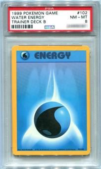 Pokemon Trainer Deck B Single Water Energy 102/102  -  PSA 8