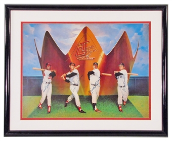 Triple Crown Winners Autographed 20X24 Framed (Mantle/Williams/Robinson/Yaz) (JSA)