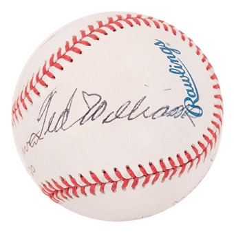 Ted Williams Autographed Multi Signed Official MLB Baseball w/ Musial/Irvin/Lopez (JSA)