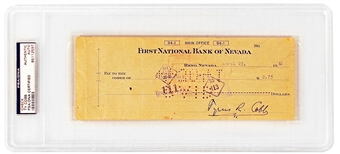 Ty Cobb Autographed Signed Check (PSA Encapsulated)