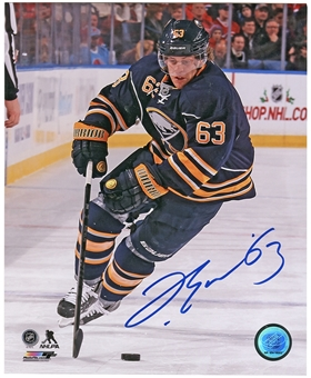Tyler Ennis Autographed Buffalo Sabres 8x10 Photo Blue Jersey