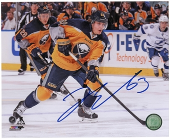 Tyler Ennis Autographed Buffalo Sabres 8x10 Photo Yellow Jersey