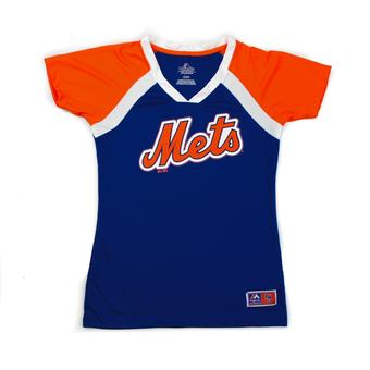 New York Mets Majestic Blue Forged Classic V-Neck Tee Shirt (Womens L)