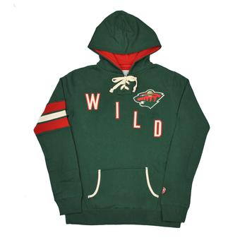 Minnesota Wild Old Time Hockey Green Nadia Fleece Hoodie