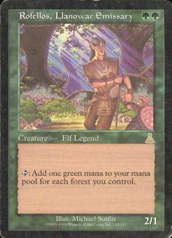 Magic the Gathering Urza's Destiny Single Rofellos, Llanowar Emissary - MODERATE PLAY (MP)