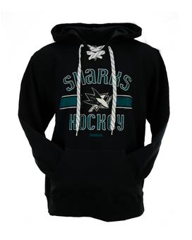 San Jose Sharks Reebok Black Lace Up Fleece Jersey Hoodie (Adult XXL)