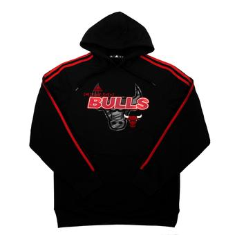 Chicago Bulls Adidas Black 3 Stripes Fleece Pullover Hoodie (Adult L)