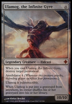 Magic the Gathering Rise of the Eldrazi Single Ulamog the Infinite Gyre Foil - SLIGHT PLAY (SP)