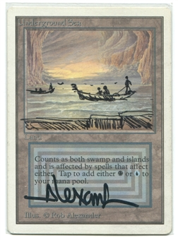 Magic the Gathering Unlimited Single Underground Sea SLIGHT PLAY ALTERED INTO RIVER STYX