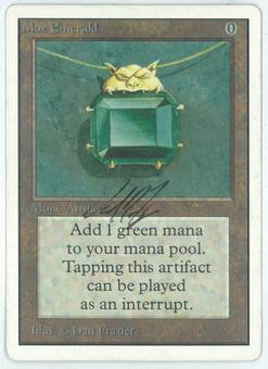 Magic the Gathering Unlimited Single Mox Emerald - SLIGHT/MODERATE PLAY (SP/MP) ARTIST SIGNED