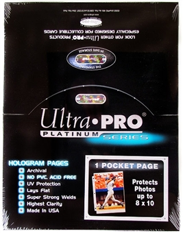 Ultra Pro Platinum 1-Pocket 8x10 Photo Size Pages (100 Count Box)