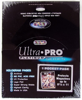 "Ultra Pro Platinum 1-Pocket 8 1/2"" x 11"" Pages (100 Count Box)"