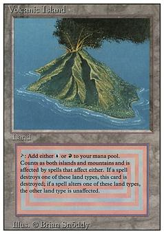 Magic the Gathering 3rd Ed (Revised) Single Volcanic Island - MODERATE / HEAVY PLAY (MP/HP)