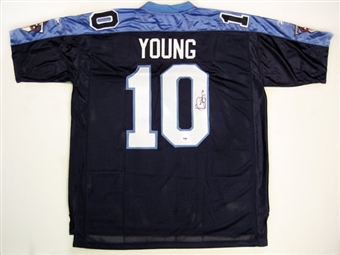 Vince Young Autographed Tennessee Titans Blue Jersey PSA COA