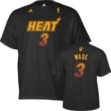 Dwayne Wade Miami Heat Black Adidas Vibe T-Shirt (Size Medium)