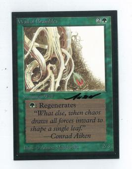 Magic the Gathering Beta Artist Proof Wall of Brambles - SIGNED BY ANSON MADDOCKS