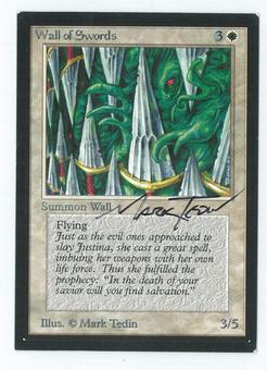 Magic the Gathering Beta Artist Proof Wall of Swords - SIGNED & ALTERED BY MARK TEDIN