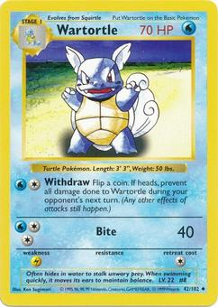 Pokemon Base Set Shadowless Single Wartortle 42 - NEAR MINT (NM)