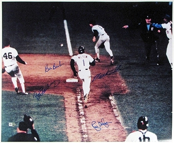 Mookie Wilson Bill Buckner Rich Gedman Bob Stanley 1986 World Series Auto 16x20 Photo