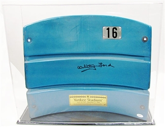 Whitey Ford Autographed Yankee Stadium Seat Back with Case